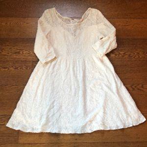 Free People Cream Boho Illusion Crochet Dress M